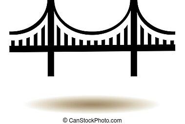 ponte, icona, cancello, dorato