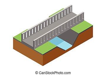 ponte, illustrazione, isometrico, vettore