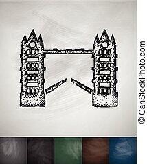 ponte, illustrazione, mano, vettore, disegnato, torre, icon.