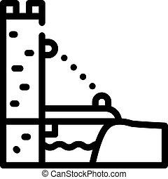 ponte, illustrazione, vettore, sospensione, linea, icona, nero