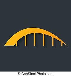 ponte, isolato, icona