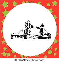 ponte, isolato, illustrazione, vettore, sfondo nero, torre, 8-bit, bianco