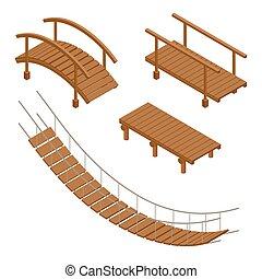 ponte, isometrico, appartamento, legno, set., vettore, appendere, illustrations., ponte, 3d