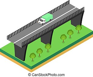 ponte, isometrico, automobili