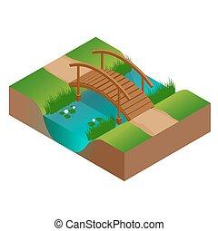 ponte, isometrico, illustration., appartamento, legno, river., vettore, 3d