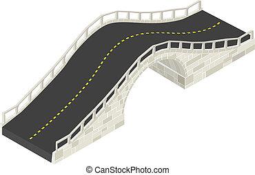 ponte, isometrico, pietra