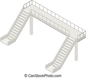 ponte, isometrico, sopra, stile, icona, ferrovia
