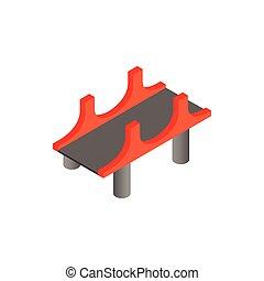 ponte, isometrico, stile, colonne, icona, rosso, 3d
