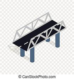 ponte, isometrico, strada, icona