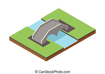 ponte, isometrico, vettore, illustrazione