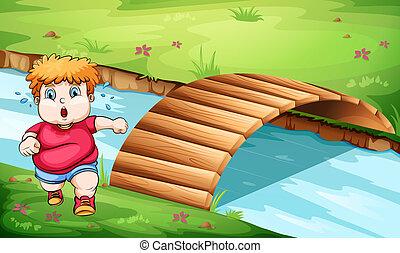 ponte, jogging, uomo grasso