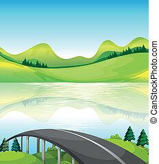 ponte, lago, strada