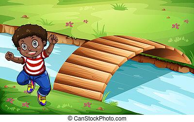 ponte legno, capretto, nero, felice