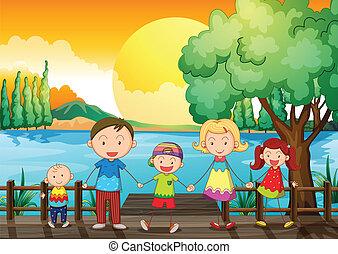 ponte legno, famiglia, felice