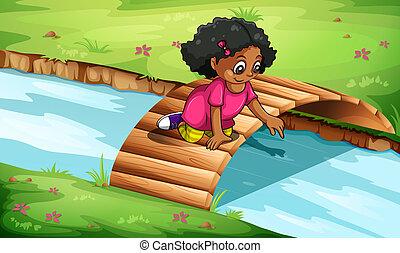 ponte legno, ragazza, giovane, gioco