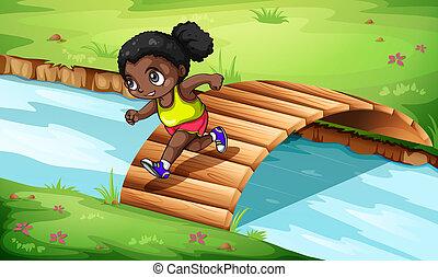 ponte legno, ragazza, incrocio, nero