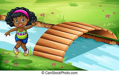 ponte legno, ragazza, nero, giovane