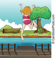 ponte legno, ragazza, saltare