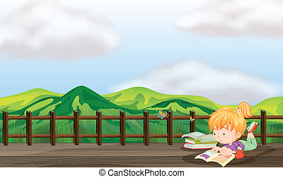 ponte legno, ragazza, studiare