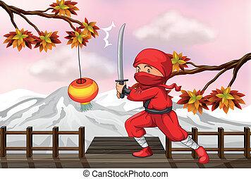 ponte legno, rosso, spada, ninja