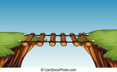 ponte legno, scogliere, fra