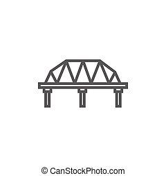 ponte, linea, rotaia, icon., modo