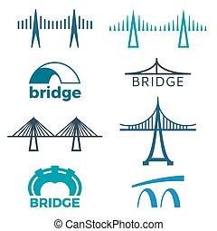 ponte, logos, isolato, collezione, illustrazioni, bianco