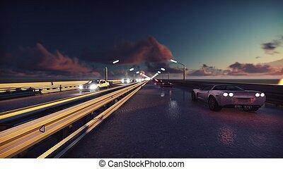 ponte, luci, automobili, sunrise., interpretazione, fondo, notte, andare, traffic., 3d
