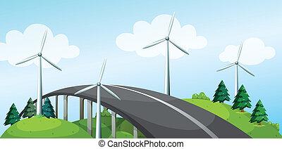ponte, mulini vento, curva, albero, pino