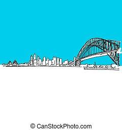 ponte, orizzonte, porto sydney