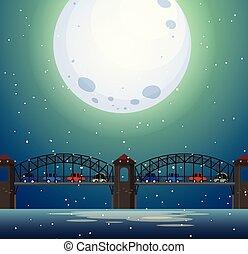 ponte, paesaggio, notte