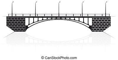 ponte, pedestrians., kiev, automobili, concreto, arco, rinforzato