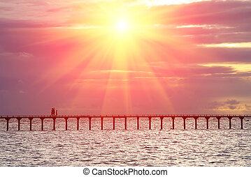 ponte, persone, sopra, silhouette, tramonto, mare