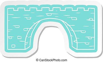 ponte, pietra, adesivo, cartone animato