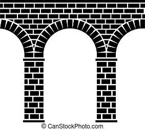 ponte, pietra, antico, acquedotto, viadotto, seamless, vettore