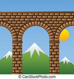 ponte, pietra, antico, acquedotto, viadotto, vettore