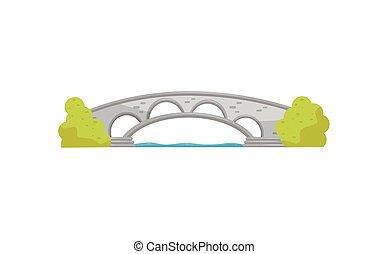 ponte, pietra, appartamento, elemento, attraverso, river., vettore, verde, passerella, piccolo, disegno, bushes., arco, città, paesaggio, park.