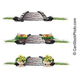 ponte, pietra, fiori, set