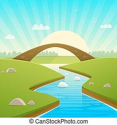ponte, pietra, paesaggio
