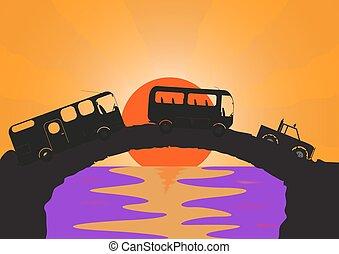 ponte, pietra, vacanza, veicoli