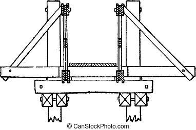 ponte, pont, sezione, croce, vendemmia, saint-michel, engraving.