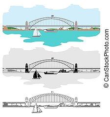 ponte, porto, simboli, sydney, altri, australiano