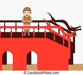 ponte, pregare, uomo giapponese