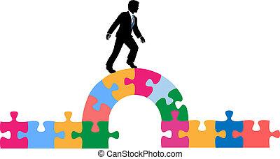 ponte, puzzle, soluzione, persona affari
