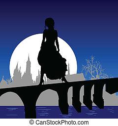 ponte, ragazza, vestire