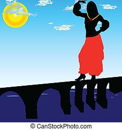 ponte, ragazza, vettore, illustrazione, ballo