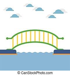 ponte, river., sopra, colorito
