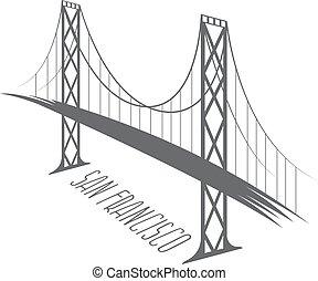 ponte, san, francisco-oakland, illustrazione, baia, vettore