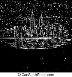 ponte, schizzo, brooklyn, york, notte, nuovo