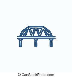 ponte, schizzo, rotaia, icon., modo
